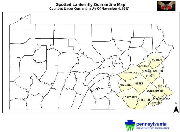 spotted lanternfly quarantin map of pennsylvania november 2017