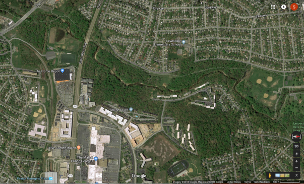 How much of the landscape in your neighborhood supports more than 70% native plants? Image: Hyattsville, Maryland, Google Maps.