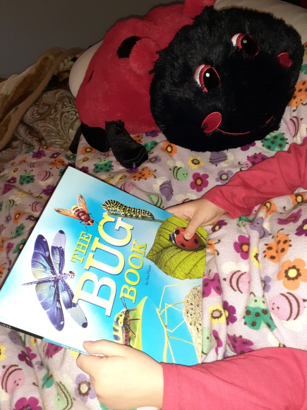 child reading a book about bugs