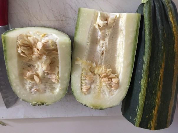 Zucchini cut in half