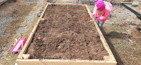 raised bed with square feet marked off